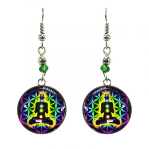 Round-shaped New Age themed chakra graphic acrylic dangle earrings with silver metal setting and beaded metal hooks in purple, lime green, yellow, black, and rainbow color combination.