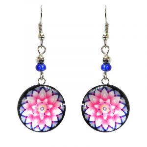 Round-shaped New Age themed mandala flower graphic acrylic dangle earrings with silver metal setting and beaded metal hooks in light pink, pink, and light blue color combination.