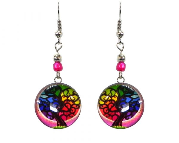 Round-shaped New Age themed tree of life graphic acrylic dangle earrings with silver metal setting and beaded metal hooks in magenta and rainbow color combination.