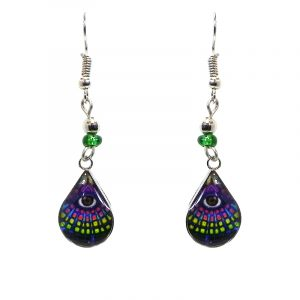 Mini teardrop-shaped New Age themed third eye lotus graphic acrylic dangle earrings with silver metal setting and beaded metal hooks in purple, lime green, and multicolored color combination.