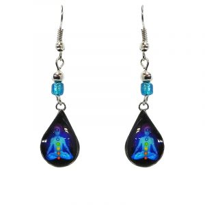 Mini teardrop-shaped New Age themed chakra graphic acrylic dangle earrings with silver metal setting and beaded metal hooks in turquoise, navy blue, and rainbow color combination.