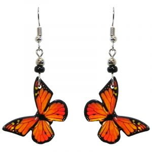 Monarch butterfly acrylic dangle earrings with beaded metal hooks in orange and black color combination.