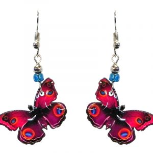 Butterfly acrylic dangle earrings with beaded metal hooks in hot pink, turquoise blue, and orange color combination.