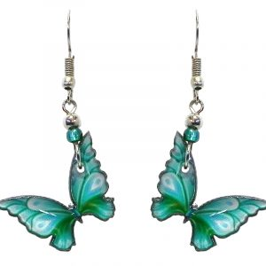 Butterfly acrylic dangle earrings with beaded metal hooks in mint and green color combination.