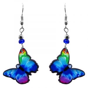 Handmade butterfly earrings with acrylic, seed beads, and metal hooks in rainbow color combination.
