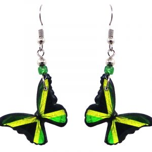 Butterfly acrylic dangle earrings with beaded metal hooks in Jamaican flag colors.