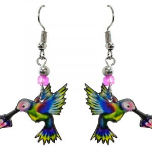 Hummingbird acrylic dangle earrings with beaded metal hooks in rainbow colors.