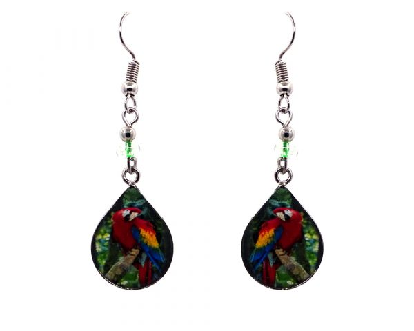Teardrop-shaped macaw parrot graphic acrylic dangle earrings with silver metal setting and beaded metal hooks in red, yellow, blue, and green color combination.