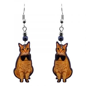 Bowtie Tabby cat acrylic dangle earrings with beaded metal hooks in orange, golden, and black color combination.