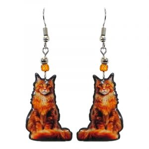 Tabby cat acrylic dangle earrings with beaded metal hooks in orange, golden, and beige color combination.