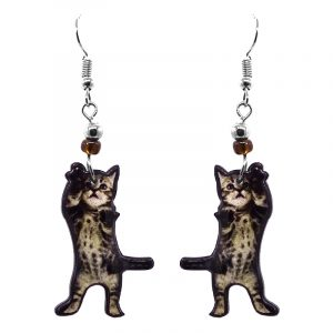 Tabby kitten cat acrylic dangle earrings with beaded metal hooks in gray, beige, brown, and black color combination.