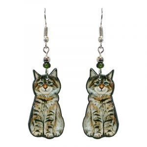 Tabby cat acrylic dangle earrings with beaded metal hooks in brown and gray color combination.