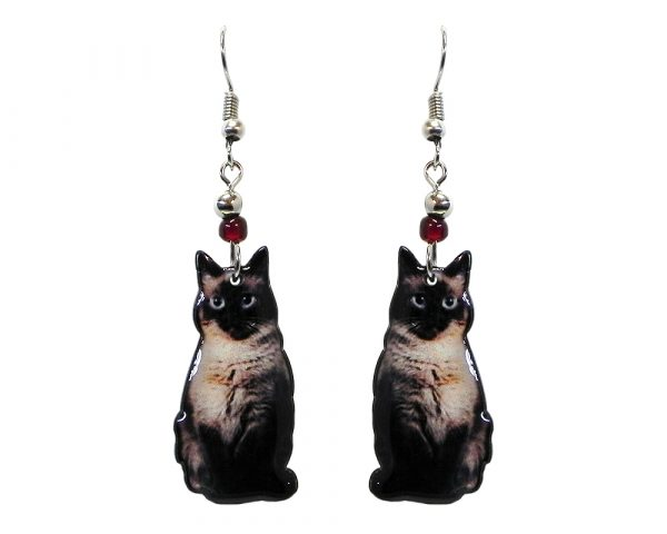 Siamese cat acrylic dangle earrings with beaded metal hooks in black, gray, and beige color combination.