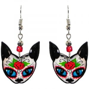 Floral rose Day of the Dead sugar skull pattern cat face acrylic dangle earrings with beaded metal hooks in white, black, red, lime green, and turquoise color combination.