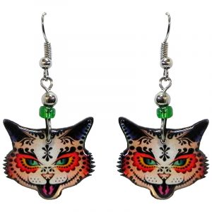Tribal pattern sugar skull cat face acrylic dangle earrings with beaded metal hooks in orange, green, and black color combination.