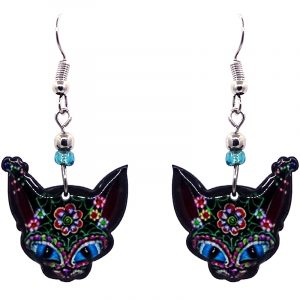 Floral Day of the Dead sugar skull pattern cat face acrylic dangle earrings with beaded metal hooks in black and multicolored color combination.