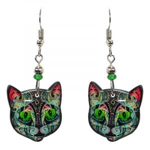 Neon psychedelic Day of the Dead sugar skull pattern cat face acrylic dangle earrings with beaded metal hooks in black and multicolored color combination.