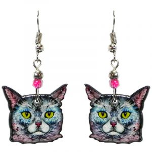 Cartoon art pattern cat face acrylic dangle earrings with beaded metal hooks in white, light blue, pink, and yellow color combination.