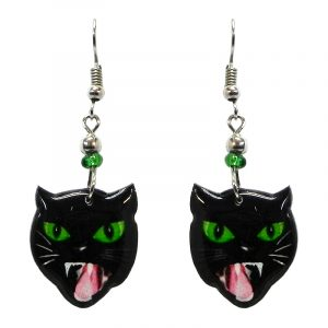 Hissing black cat face acrylic dangle earrings with beaded metal hooks in black, lime green, white, and pink color combination.