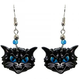 Cartoon black cat face acrylic dangle earrings with beaded metal hooks in black, white, and turquoise blue color combination.