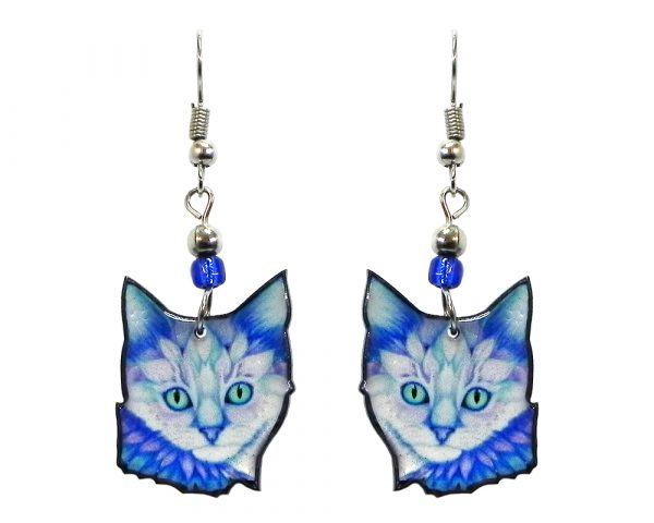 Floral art pattern cat face acrylic dangle earrings with beaded metal hooks in light blue, turquoise, and white color combination.
