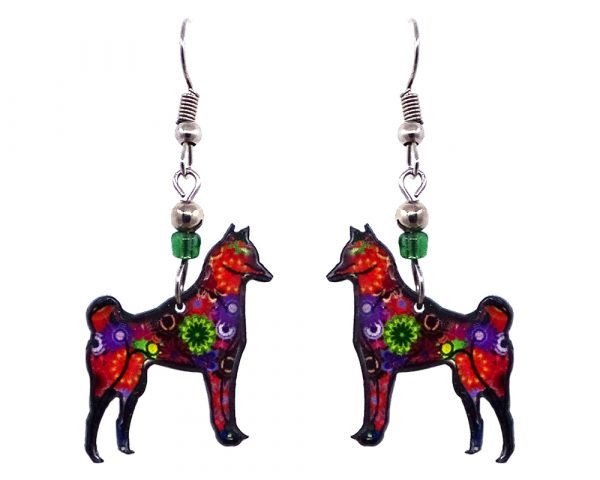 Floral pattern Shiba Inu dog acrylic dangle earrings with beaded metal hooks in multicolored color combination.