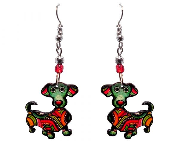 Tribal pattern Dachshund dog acrylic dangle earrings with beaded metal hooks in green, red, golden yellow, black and white color combination.