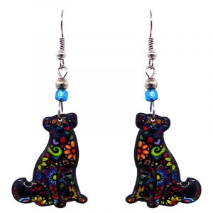 Floral pattern Labrador dog acrylic dangle earrings with beaded metal hooks in black and multicolored color combination.