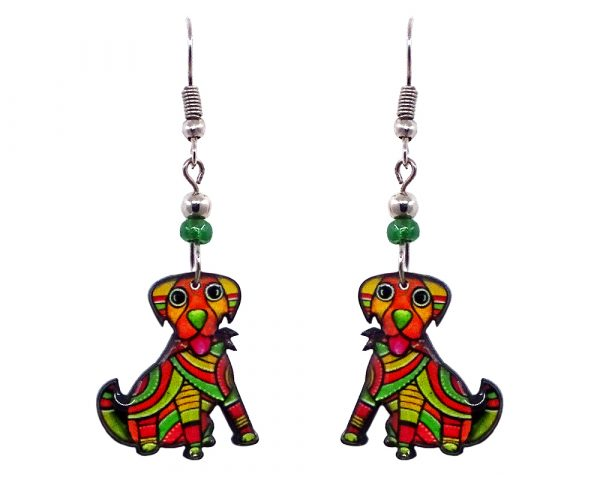 Tribal pattern Beagle dog acrylic dangle earrings with beaded metal hooks in lime green, orange, red, and golden yellow color combination.