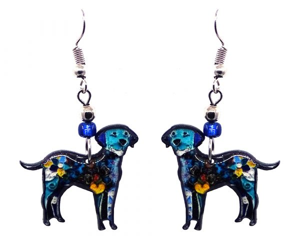 Floral pattern Labrador dog acrylic dangle earrings with beaded metal hooks in turquoise, blue, and multicolored color combination.