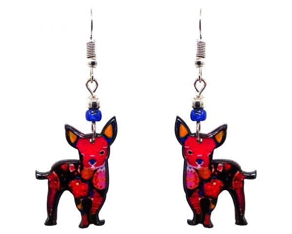 Floral pattern Chihuahua dog acrylic dangle earrings with beaded metal hooks in hot pink, blue, golden yellow, black, and white color combination.