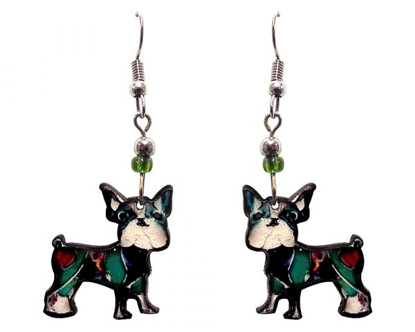 Art pattern Boston Terrier dog acrylic dangle earrings with beaded metal hooks in teal, red, black, and white color combination.
