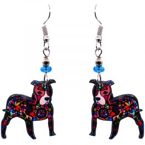 Psychedelic pattern Pitbull terrier puppy dog acrylic dangle earrings with beaded metal hooks in black and multicolored color combination.