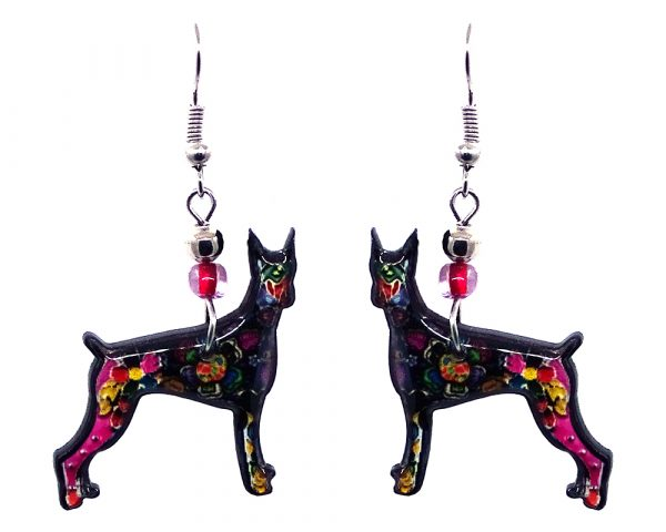 Floral pattern Great Dane dog acrylic dangle earrings with beaded metal hooks in black and multicolored color combination.