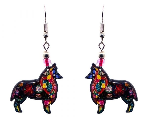 Floral pattern Collie dog acrylic dangle earrings with beaded metal hooks in black and multicolored color combination.