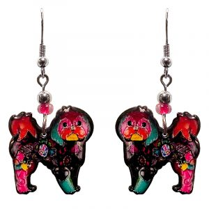 Floral pattern Shih Tzu dog acrylic dangle earrings with beaded metal hooks in hot pink, black and multicolored color combination.