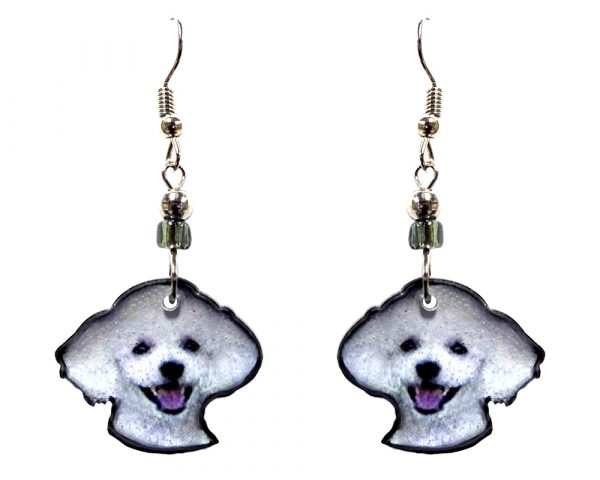Poodle dog face acrylic dangle earrings with beaded metal hooks in white, gray, black, and pink color combination.