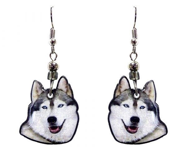 Husky dog face acrylic dangle earrings with beaded metal hooks in gray, white, black, and pink color combination.