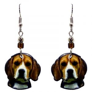 Beagle dog face acrylic dangle earrings with beaded metal hooks in brown, white, and black color combination.