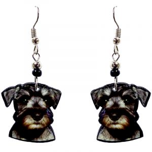Miniature Schnauzer dog face acrylic dangle earrings with beaded metal hooks in black, gray, and beige color combination.