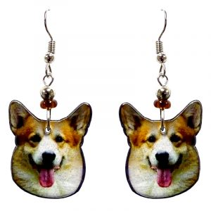 Corgi dog face acrylic dangle earrings with beaded metal hooks in tan, beige, white, black, and pink color combination.