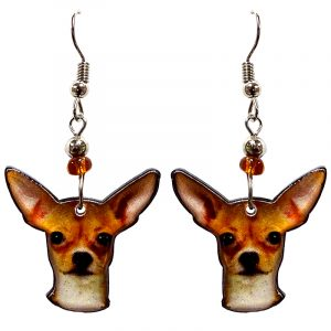 Chihuahua dog face acrylic dangle earrings with beaded metal hooks in golden, tan, beige and black color combination.