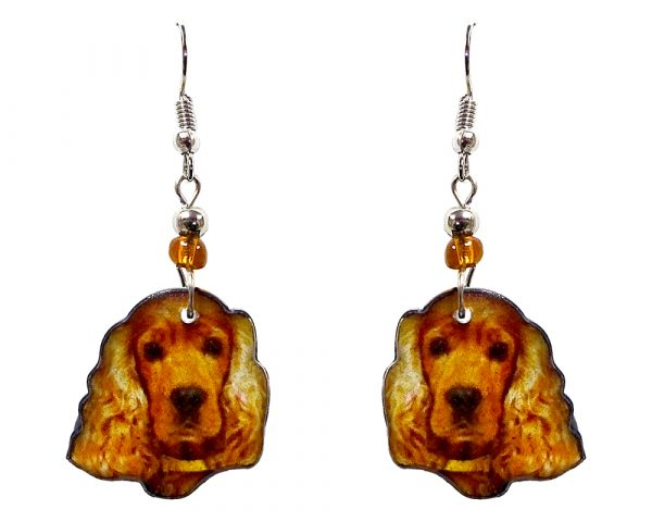 Cocker Spaniel dog face acrylic dangle earrings with beaded metal hooks in golden brown, tan, and black color combination.