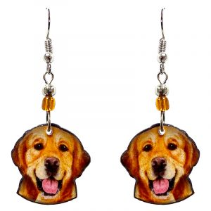 Golden Retriever dog face acrylic dangle earrings with beaded metal hooks in golden brown, tan, beige, black, and pink color combination.