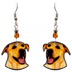 Labrador dog face acrylic dangle earrings with beaded metal hooks in golden yellow, beige, black, and pink color combination.