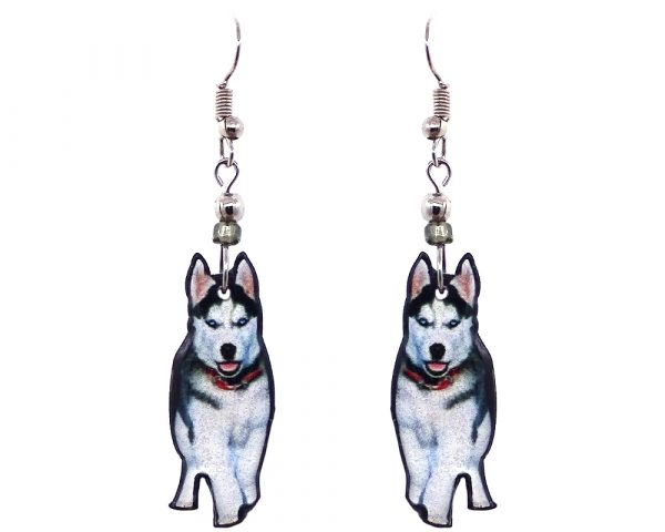Husky dog acrylic dangle earrings with beaded metal hooks in white, gray, black, pink, and red color combination.