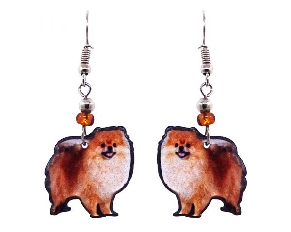 Pomeranian dog acrylic dangle earrings with beaded metal hooks in orange, brown, beige, and black color combination.