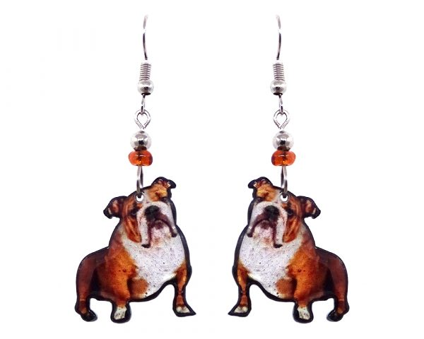 English Bulldog dog acrylic dangle earrings with beaded metal hooks in tan, brown, white, and black color combination.