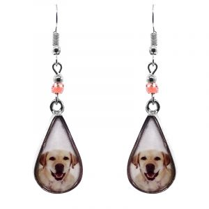 Teardrop-shaped Labrador dog face graphic acrylic dangle earrings with silver metal setting and beaded metal hooks in white, peach, and black color combination.