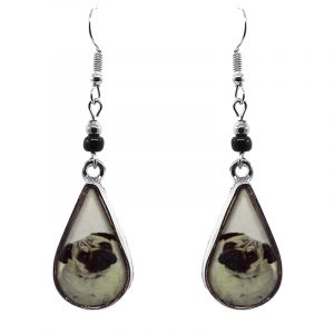 Teardrop-shaped Pug dog face graphic acrylic dangle earrings with silver metal setting and beaded metal hooks in white, beige, and black color combination.